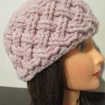 Blush pink crochet hat, blush pink winter hat