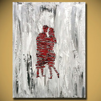 Valentines day Gift, Original canvas painting, dancing Lover Kissing decor wall art, contemporary abstract paintings from Israeli artist