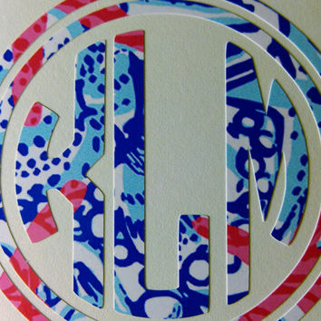 Lilly Pulitzer Print Round Monogram with Double Frame Decal - She She Shells