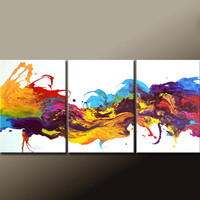 "3pc Abstract Canvas Art Painting 54"" Original Contemporary Triptych Paintings by Destiny Womack - dWo - The River of Dreams"