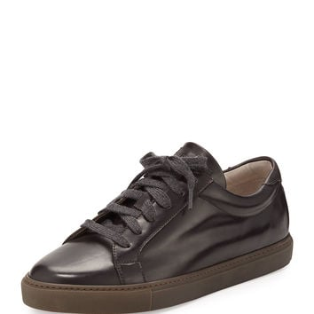 Leather Lace-Up Sneaker, Brown - Brunello Cucinelli