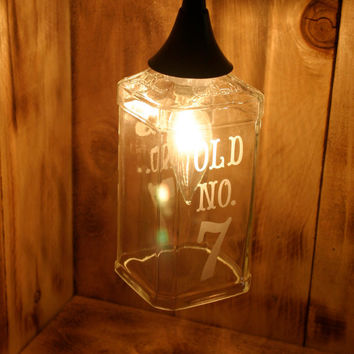 Old No. 7 Hanging Pendant Lamp made from an upcycled Jack Daniels 1.75L Bottle