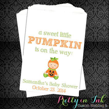 BS12 – Baby Shower Favors, Pumpkin Baby Shower, Candy Buffet, Fall Baby Favors, A sweet Little Pumpkin, Unisex, Candy Bags, Popcorn Bags