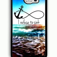 Samsung Galaxy S6 Case - Rubber (TPU) Cover with anchor moon i refuse to sink Rubber case Design