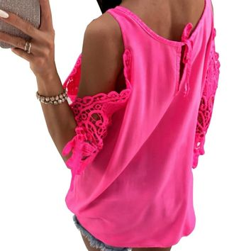 Women Summer Chiffon Blouses  New Casual Sexy Sun-top Blusas Half Sleeve Lace Patchwork Shirts Off Shoulder Tops Solid GV381