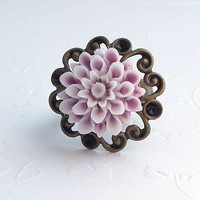 Pink Purple Adjustable Flower Ring Dahlia Flower Antiqued Brass Filigree