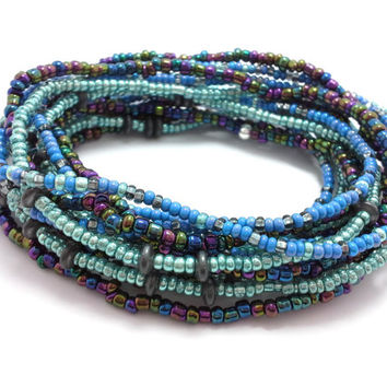 Seed bead wrap stretch bracelets, stacking, beaded, boho anklet, bohemian, stretchy stackable multi strand, blue, teal green, black hematite