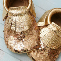 Gold Sequins Baby Moccasins
