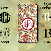 Monogram Floral Pattern-iPhone 5 , 5s, 5c,4s, 4,Ipod touch 5, Samsung GS3, GS4 -Silicone Rubber or Plastic Case, Phone cover