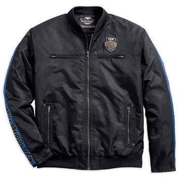 Harley-Davidson® Men's 115th Anniversary Nylon Bomber Jacket, Black 98585-18VM