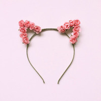 Pastel Pink Rose Kitty Crown | Floral Baby Pink Cat Ears Headband