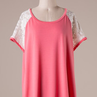 Coral Short Sleeve Top with Lace