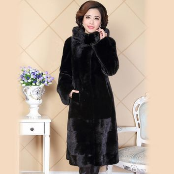 Nerazzurri 2017 New Winter Real Natural Mink Fur Coat For Women China Black Genuine Hooded Russian Mink Coats Plus Size 5XL 6XL