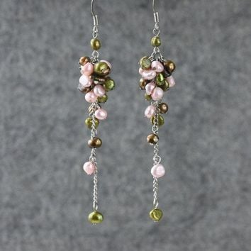 Pastel Pearl long dangling chandeleir earrings Bridesmaids gifts Free US Shipping handmade Anni Designs