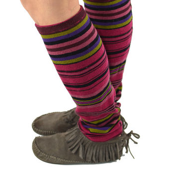 Leg Warmers in Spring Garden - Stripes - Fuchsia Pink Black Purple Burgundy Chartreuse - Recycled Sweaters