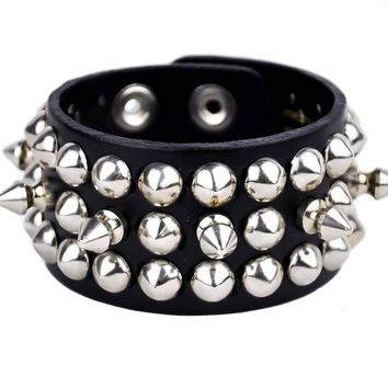"Spikes w/ Conical Studs Quality Black Leather Wristband Cuff Bracelet 1-1/2"" Wide"