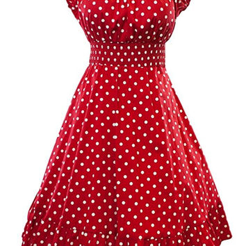 Red White Polka Dot Dress Peasant Boho 50''s Pinup Retro Vintage Style Plus size