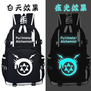 Japanese Anime Bag Fullmetal Alchemist Backpack Cosplay  Canvas Bag Luminous Schoolbag Travel Bags AT_59_4