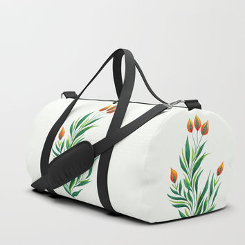 Abstract Green Plant With Orange Buds Duffle Bag by borianagiormova