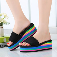 Summer Rainbow Sandals Home Shoes Antiskid Wedge Heels Beach Sandals