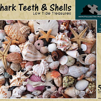 Shark Teeth and Shells Low Tide Treasures - 550 Piece Puzzle, Made in the USA