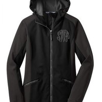 Monogrammed Black Soft Shell Hooded Jacket