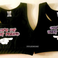 Shes My Best Friend Set Cotton Sports Bra Set Cheerleading, Yoga, Running, Working Out