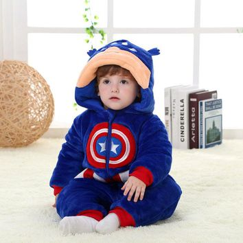 0-24 Month Cartoon American Captain Superhero Baby Romper Cotton Flannel Jumpsuit 2017 High Quality Winter Baby Clothes RL11-14