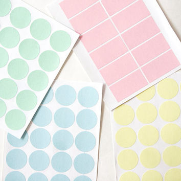 Circle Round Stickers and Rectangle/Label Stickers, Pastel Color Paper Sticker - Set of 4 Sheets, Pastel Pink, Baby Blue, Mint and Yellow