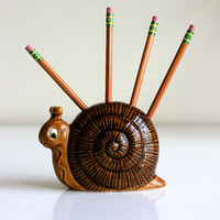 Vintage Ceramic Snail Pencil Holder by WiseApple on Etsy