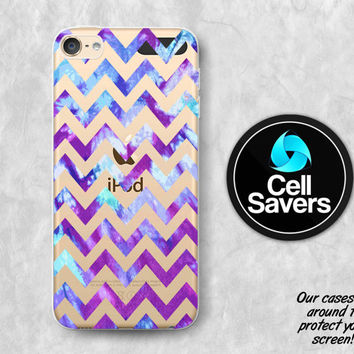 Purple Chevron Clear iPod 5 Case iPod 6 Case iPod 5th Generation iPod 6th Generation Rubber Case Gen Clear Case Tie Dye Ombre Blue Tumblr
