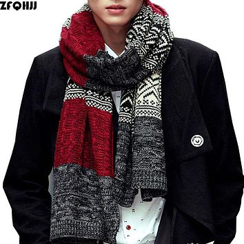 ZFQHJJ Mens Acrylic Scarf 2017 New Korea Women Men Unisex Warm Autumn Winter Scarves fit lovers Knitting Long Large Scarf Wraps