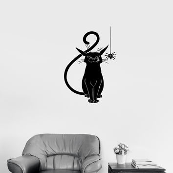 Wall Decal Evil Cat Black Spider Horror Scary Vinyl Sticker Unique Gift (ed668)
