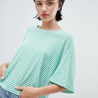 Weekday textured stripe t-shirt in green and white stripe at asos.com