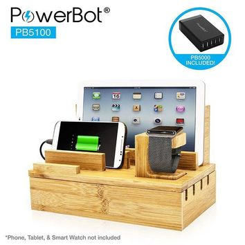 DCK4S2 PowerBot PB5100 40Watt 8Amp 5 USB Port Rapid Charger Universal Desktop Charging Station w/ Bamboo Finish, Multi Device Charging Dock, Organizer Stand for Tablets, Apple Watch, Smartphones up to 5.7'