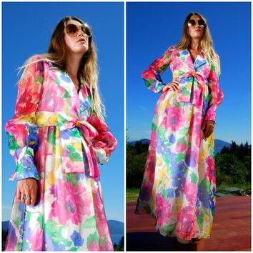 60s Floral Gown, Sheer Abstract Watercolor Organza, Empire Waist Maxi Dress Tulips + Roses Floral Plunge Dress Deep V Long Sleeve Mod Dress