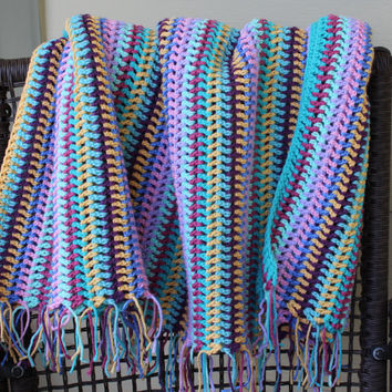 Crocheted Afghan -  Mixed Multi Stripe - Vintage Design - Turquoise Blue Pink Yellow Lavender