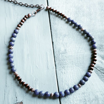 Frosted Blue Lapis Choker Necklace 230n