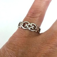 Vintage Marsala 925 Celtic Hearts Band Ring Size 6.75 Sterling 2.2(gr)