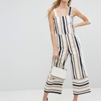 ASOS PETITE Pinny Jumpsuit in Stripe at asos.com