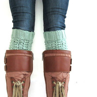 Knitted Boot Cuffs - Leg Warmers - Minty Green