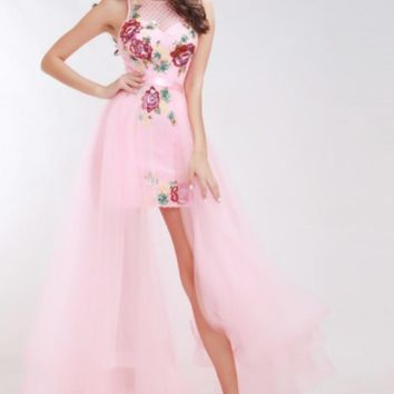 Pink Sexy Cocktail Dresses Sleeveless Backless Crystal Beading High Low Elegant Prom Party Gowns