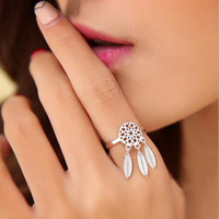 925 Silver Jewelry Ethnic Brushed Tassel Dreamcatcher With Feathers Rings for  Party Gift SYJZ004