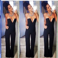 Sexy Deep v  Pure color jumpsuit WW0117BG