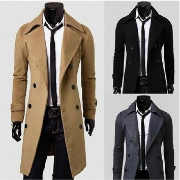 Fashion Men's Casual Cashmere Trench Coat Winter Long Jacket Double Breasted Overcoat