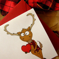 Cute Moose in Plaid Set of 5 blank note cards by littletoad