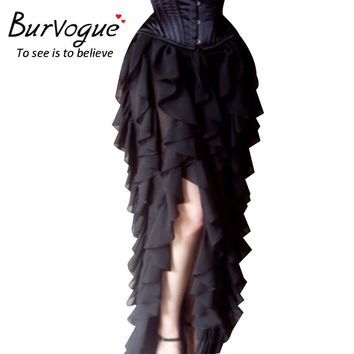 Burvogue Women New Steampunk Skirt Gothic Lace Long Maxi Skirt Steampunk Corset Skirts Ball Grown Ruffled Skirts