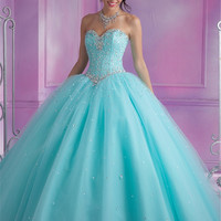 Vestidos de 15 anos Teal Quinceanera Dresses Sweetheart Silvery Crystals Beaded Ball Gowns