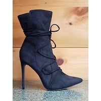 """So Me Destiny Black FX Suede Pointy Toe 4.5"""" Heel Lace Up Design Ankle Boot"""