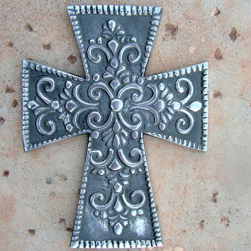 Silver Metal Filigree Crucifix Wall Hanging Indian folk art Plaque Cross Primitive Rustic Decor